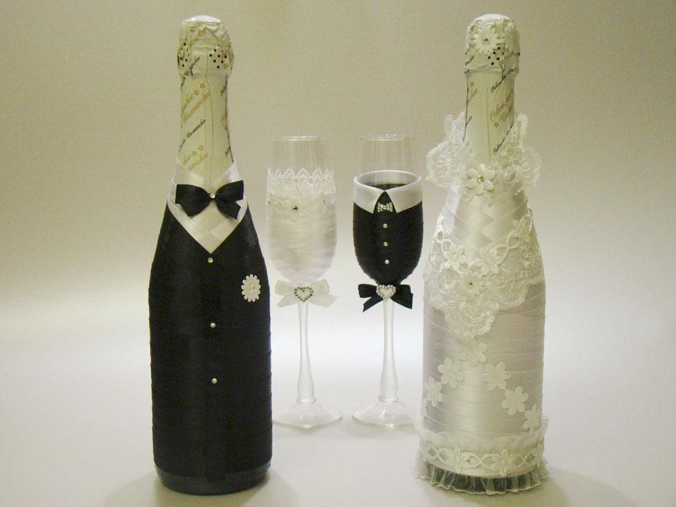 Украшение бутылок шампанского лентами на свадьбу своими руками