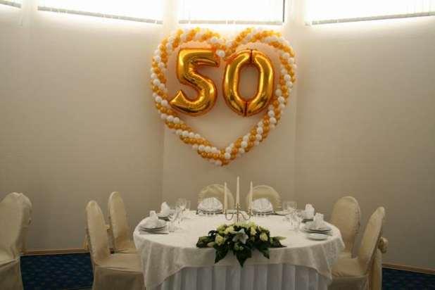 Украшения зала на золотую свадьбу 87