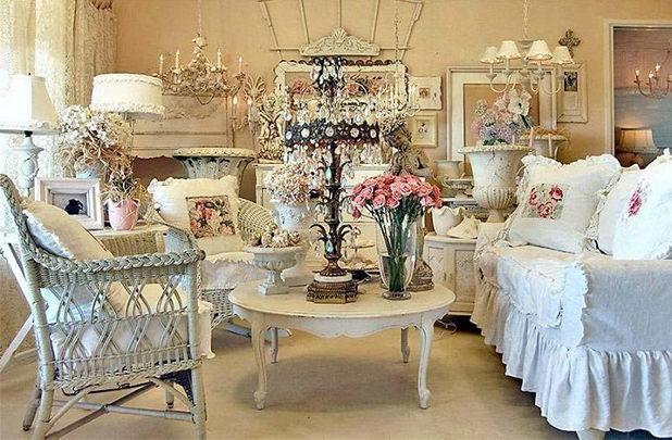 Элегантное оформление зала для свадьбы в стиле шебби-шик