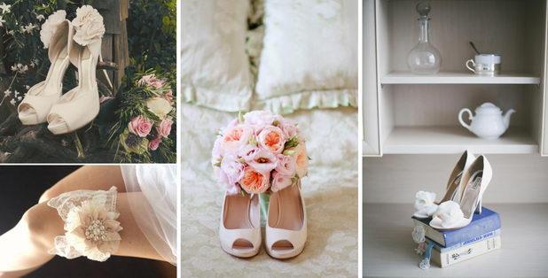 Оформление свадебных туфлей в стиле шебби-шик