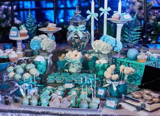 Кэнди бар в синем стиле на свадьбу