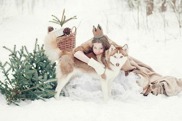 Оригинальное фото зимней свадьбы