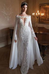 Варианты свадебных платьев с кейпом и накидкой