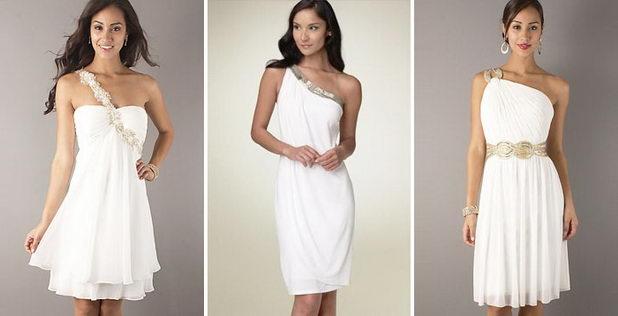 Короткое платье на свадьбу в греческом стиле