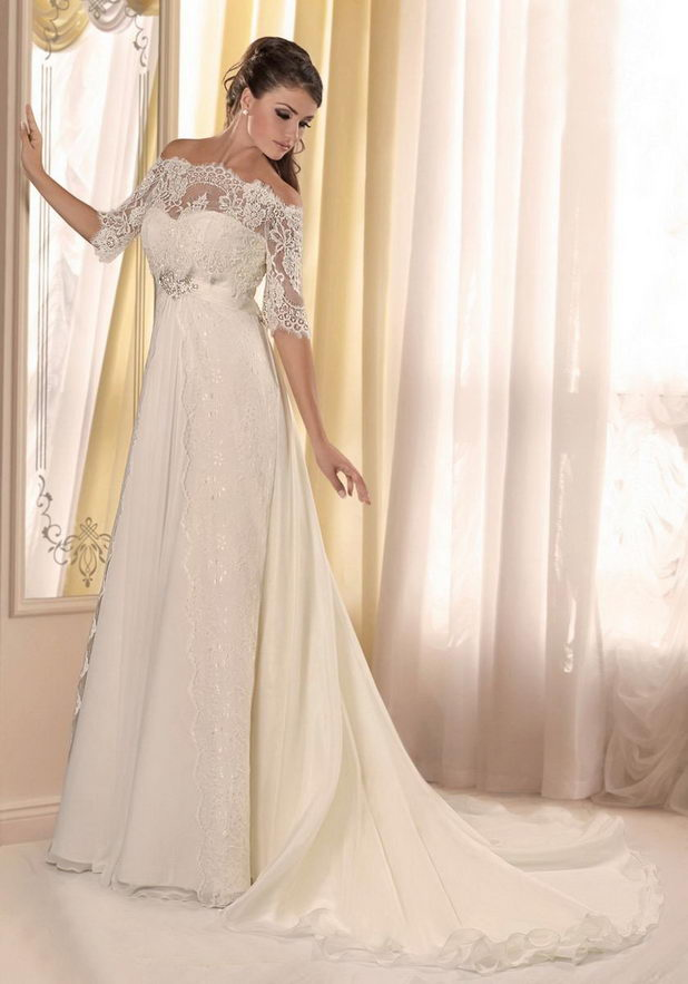 Свадебное платье с рукавами из кружев